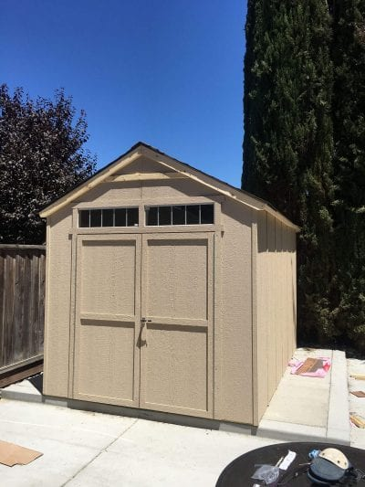 new shed installation in Tracy