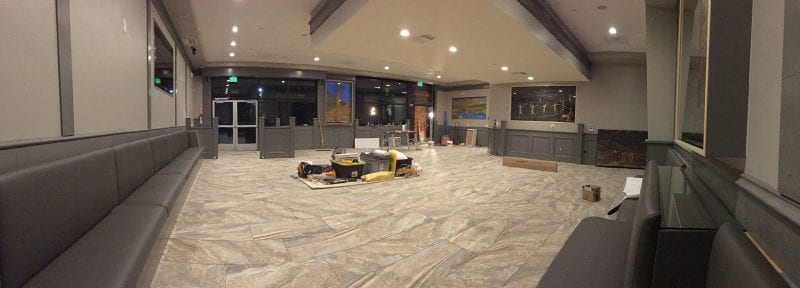 new flooring installed inside restaurant during remodel