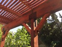 Side of pergola with brackets