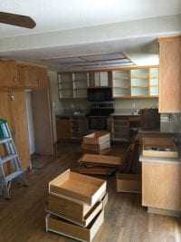 Drawers and doors removed during kitchen remodel