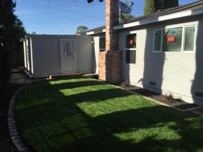 Backyard landscaping with new lawn