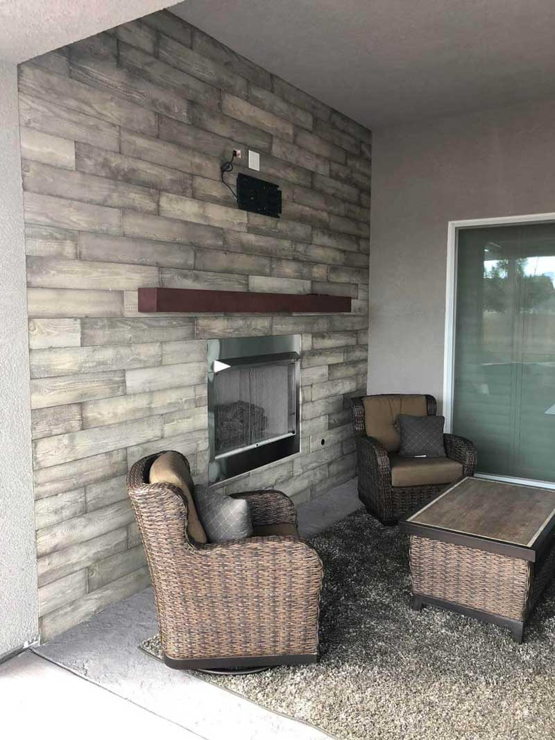 Living room and fireplace remodel with neutral colors