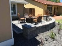 New stone wall and patio with rock around it