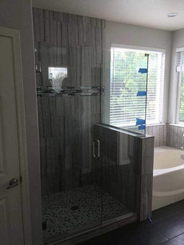New shower remodel with glass enclosure