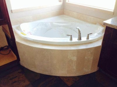 newly installed large corner bathtub in Tracy
