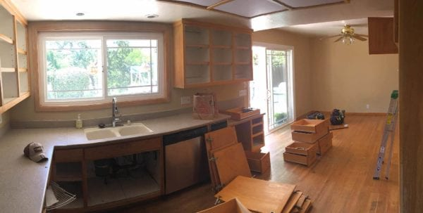 During kitchen remodel, with doors and drawers removed