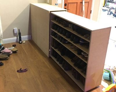 Custom shoe rack storage in Tracy, CA