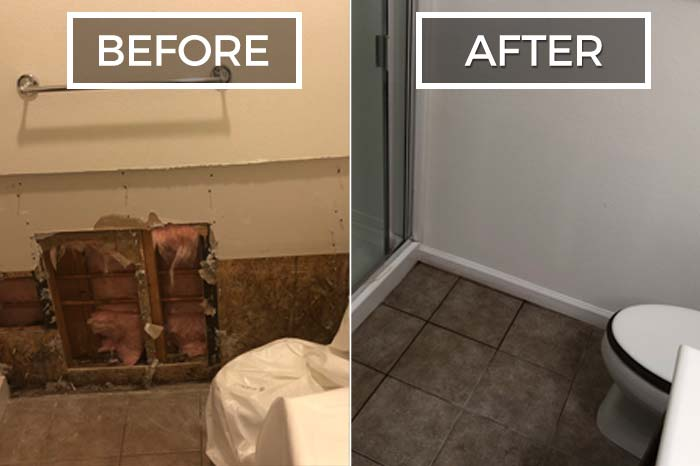 water damaged bathroom before and after