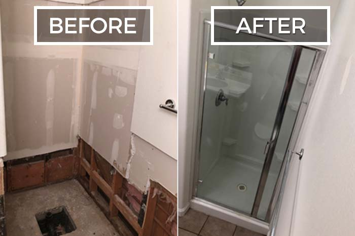 water damaged shower before and after