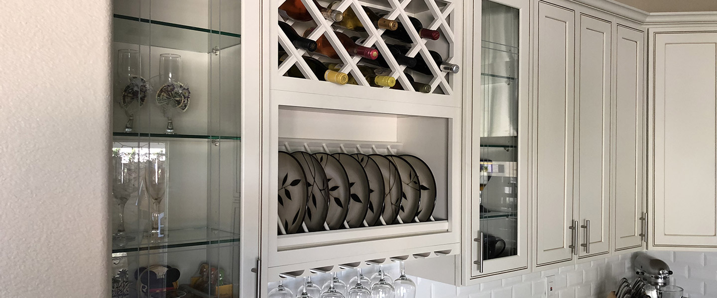 Custom kitchen storage cabinet remodel with wine and dish storage