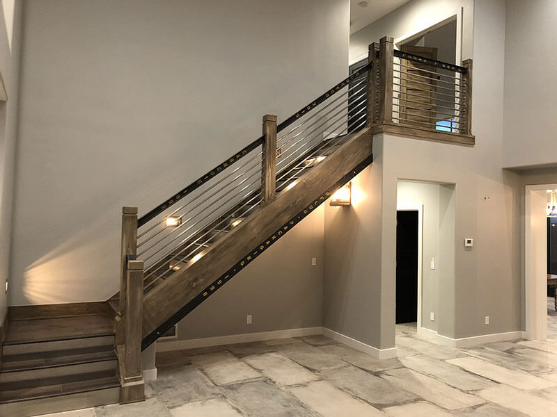 Custom built staircase with custom lighting