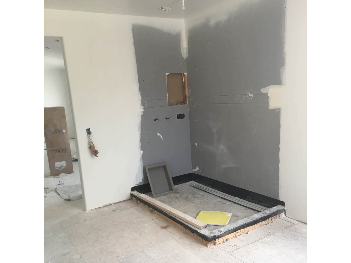 ripped out shower in Manteca before bathroom remodel