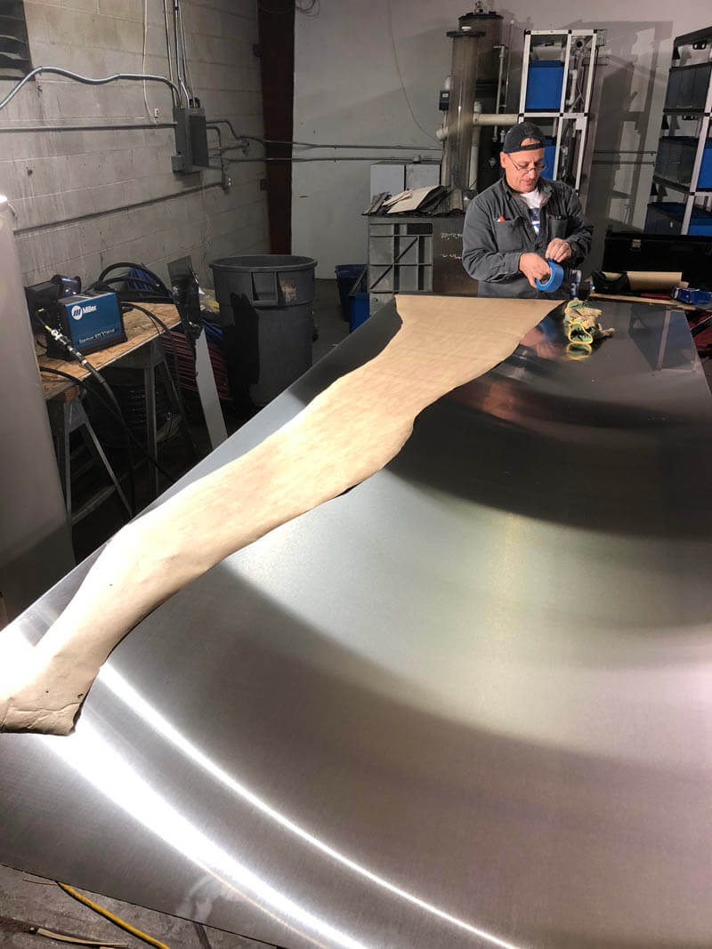 cutting stainless steel for shower remodel