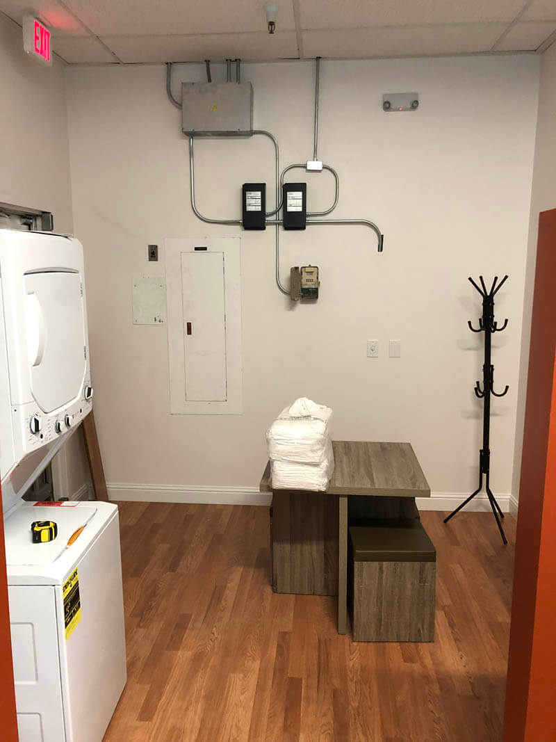 laundry area inside kids hair salon constructed by Elevated Development Construction