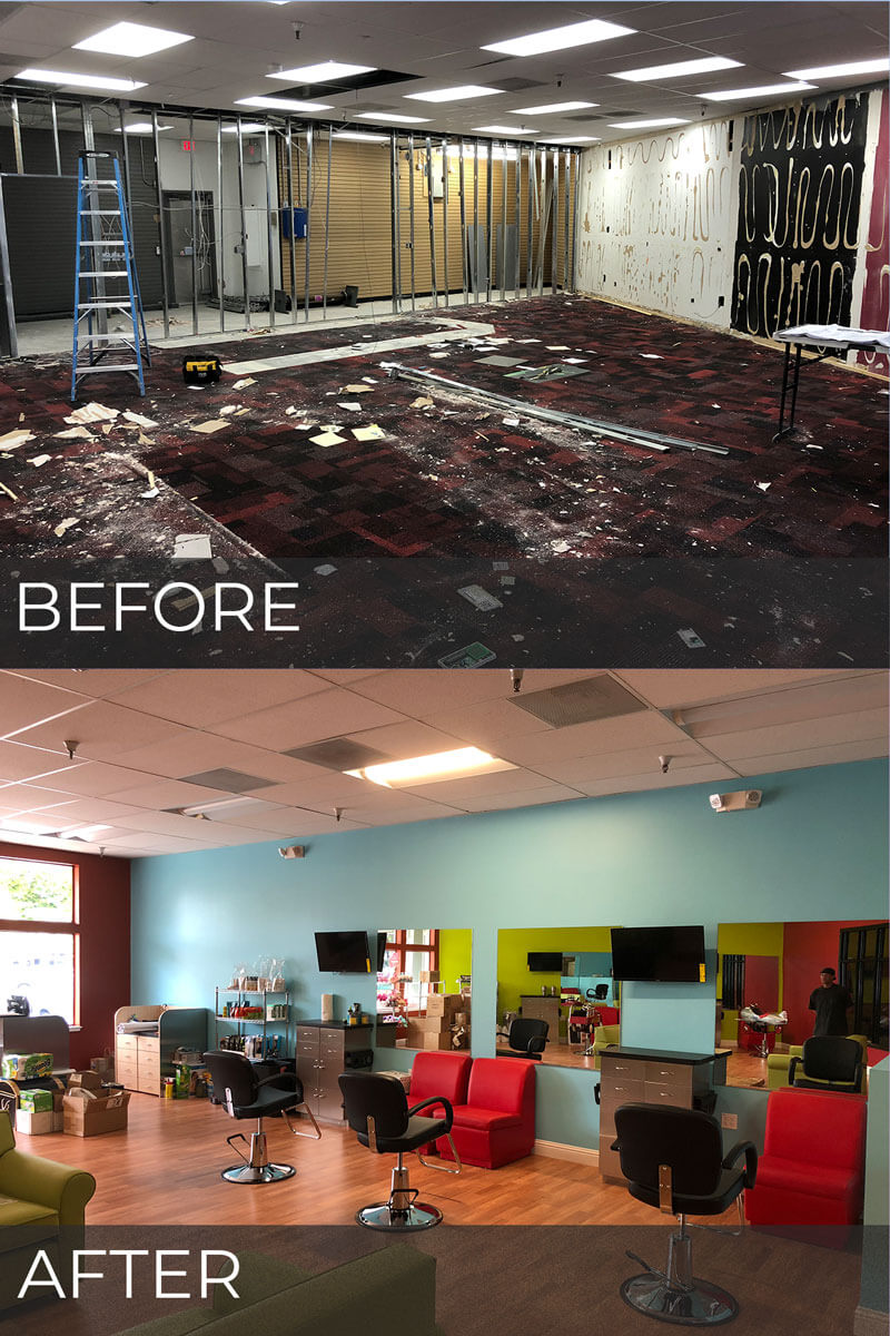before and after photos - construction of Pigtails & Crewcuts in Danville