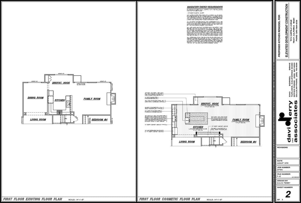 CAD drawing created by Elevated Development Construction for kitchen remodel in Tracy