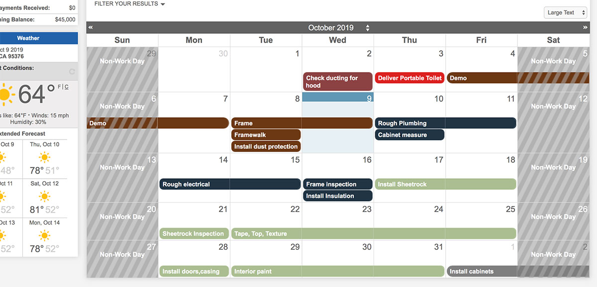 sample customer calendar during remodel